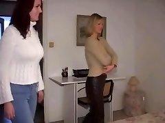 Blonde dominates Brunette topless wrestling