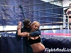Busty dyke frigged by teen after wrestling