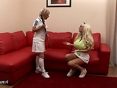 Big titted stunner lezzed up by her coach