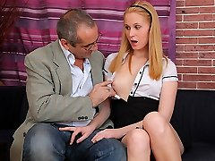 TrickyOldTeacher - Mature teacher tricks uber-sexy student to fuck her honeypot for grades