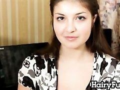 Hairy Hottie Masturbates With A Dildo