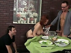 Lustful red-haired bitch Siri pleases two nasty dudes