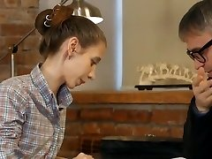 Pervy tutor shoots a load in his thin student !