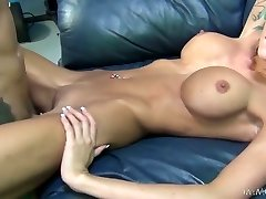 Skinny inked lady with fake hooters Rikki Six gets railed missionary style