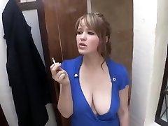 smoking girl down blouse gigantic breast