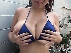 Super-hot brunette asian biotch with big juggs