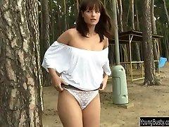 Busty teen Rita wank outdoors