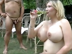 Giant boobs girls drink  bunch of piss
