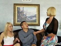Stockinged stepmom cockrides in forbidden ffm
