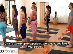 FitnessRooms Gang yoga session concludes with a sweaty creampie