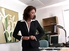 Boss lady evaluates her employee's wood at the office