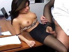 Office sex with a busty secretary in wonderful hosiery