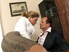 Bitchy secretary with giant jugs Brooklyn Lee hooks up with her boss