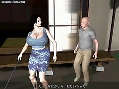 Animated milf with monstrous breasts