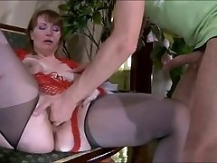 Dork-guy & sweet jaw-dropping mom with saggy tits