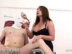 Busty nurse Mistress fits jizm pump to slaves rod and fucks his tight backside