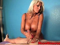 Busty titfucked granny in spunk control session