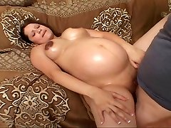 Smooth-shaven preggie bitch fucking for her luck