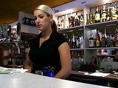 Big boobies bartender gal fucked at work