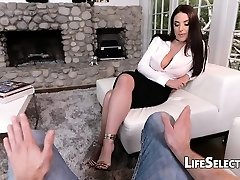 Busty Milf Angela White enjoys foot fetish with her cotenant