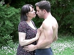 Big breasted British MOM humping not her son