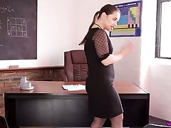 Very perverted Russian teacher Olga stretches legs and flashes off her cunt