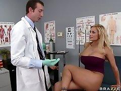 Busty blonde Shyla Stylez makes her gynecologist lick her vulva