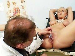 Busty Alexa Bold gyno examination and milk cans bondage at kinky clinic