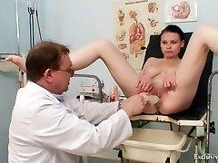 Busty babe gyno exam by dirty elder doctor