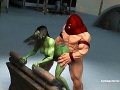 She hulk and the rock stiff Juggernaut