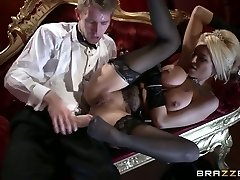Glamour light-haired with appetizing titties  rides dick and gives her head at the theater