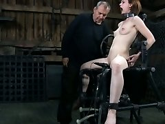 Bondage domination & submission sub fucked by machine