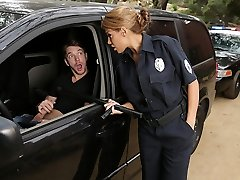 Latina officer caught on a boy jerking off in his car!