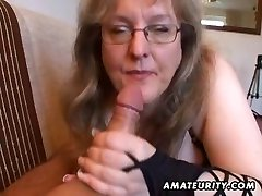 Busty fledgling wife handjob and blowjob