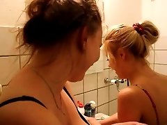 Ash-blonde gilr in bathroom