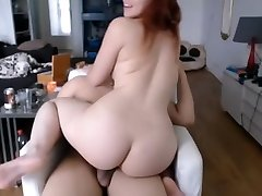 Sexy chubby redhead babe riding Bf trouser snake cum on face