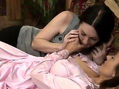 Huge-boobed stunning sappho kissing