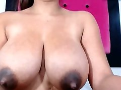 Huge natural tits with dark nips some milk drizzle