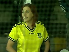 Brondby soccer fan showcases nice boobs in public