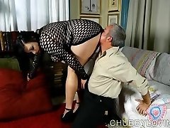 Supah sexy fatty in fishnet bodysuit gets blasted with cum