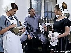 Chesty maid Cathy Heaven wants a threesome with her tormentor and his wifey