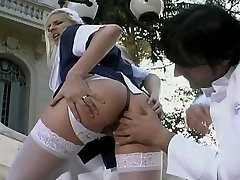 Ultra red-hot blond maid banged