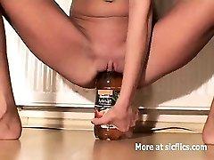 Thin slut fucking huge bottles