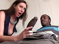 Big black dude fucks whorish mature chick Lara Latex