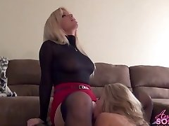 Busty blonde chief makes maid lick her pussy