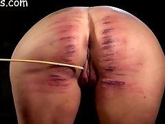 Girls ass brutally caned