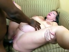 Gross pregnant blond haired whore rides and sucks good-sized black cock