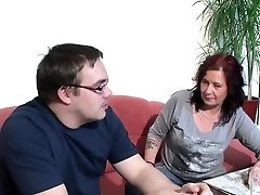 German Mommy Helps Her Ugly Step-Son with First Poke