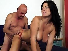Ugly grampa plows big tit slut