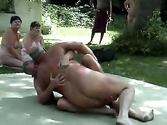 Outdoor male wrestling nude